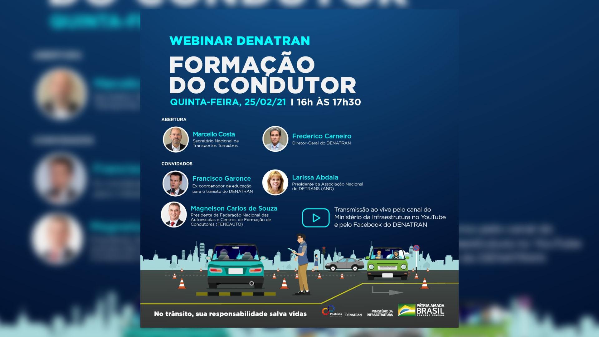 Denatran vai promover webinar para discutir o futuro da formação de condutores