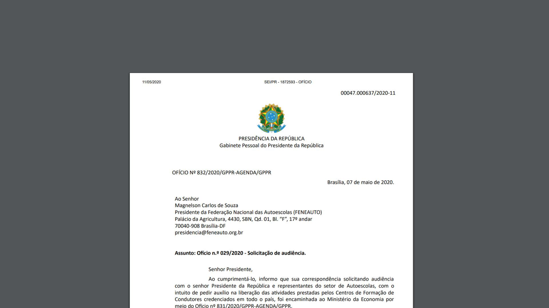 Gabinete da presidência da República responde solicitação da Feneauto sobre retomada das atividades das autoescolas